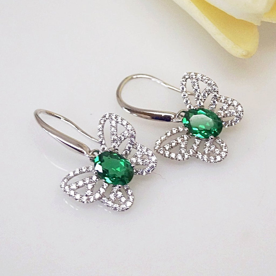 Pure 92.5 Sterling Silver Emerald Butterfly Earrings - Enumu