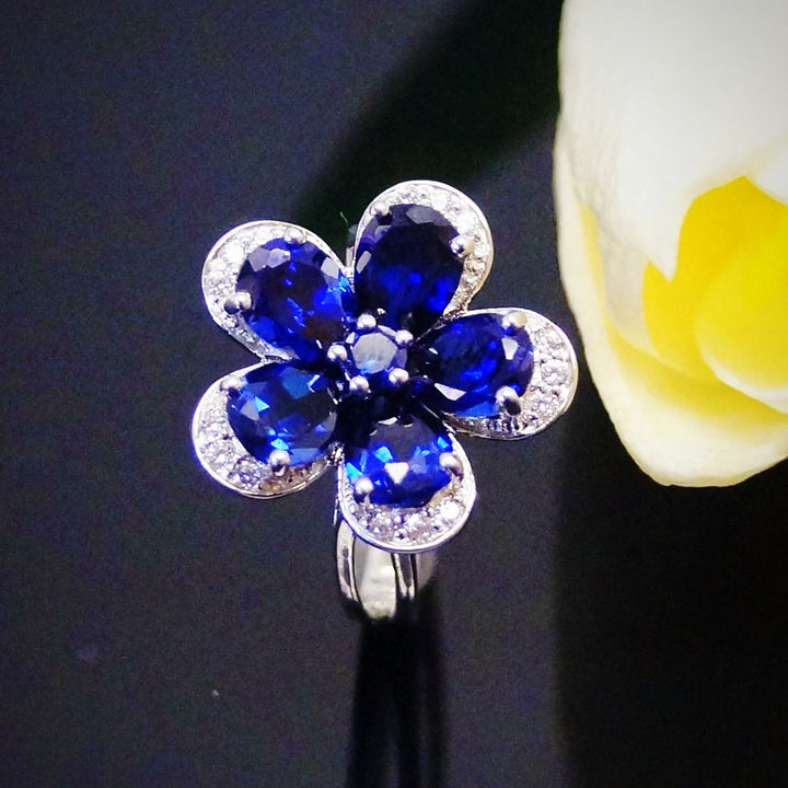 Pure 92.5 Sterling Silver Blue Sapphire Flower Ring - Enumu