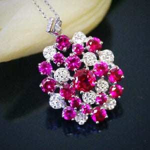 Pure 92.5 Sterling Silver Ruby & CZ Pendant with Chain - Enumu