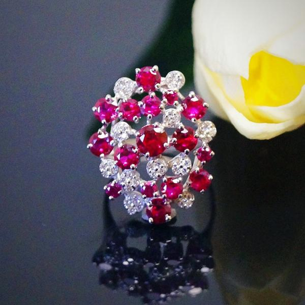 Pure 92.5 Sterling Silver Ruby Ring - Enumu