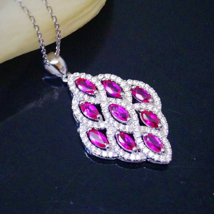 Pure 92.5 Sterling Silver Ruby Pendant with Chain - Enumu