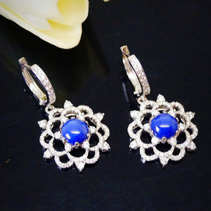 Pure 92.5 Sterling Silver Star Blue Sapphire Stone & CZ Dangle Earrings - Enumu