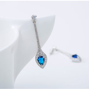Blue Sapphire Designer Long Dangle Earrings - Enumu
