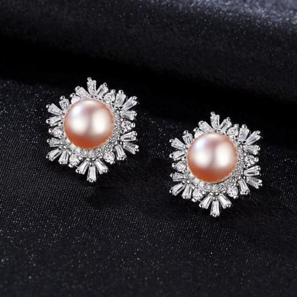 Pure 92.5 Sterling Silver Natural Pearl Studs