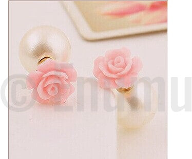Double Side Pink Rose and Pearl Studs - Enumu