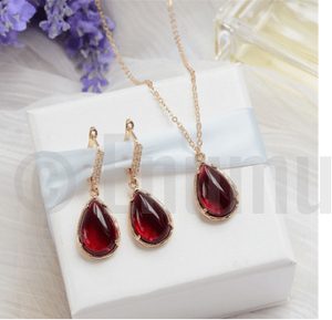 Uncut Ruby Earrings and Pendant set - Enumu