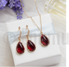 Uncut Ruby Earrings and Pendant set - Enumu  - 2