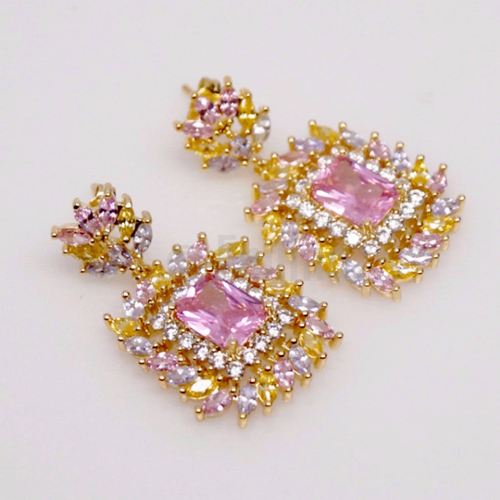 Pink and Yellow Dangle Earrings - Enumu  - 1