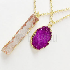 Purple & White Druzy Double Pendant with Chain - Enumu