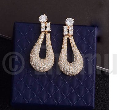 Gold plated Swiss CZ Dangle Earrings - Enumu  - 1
