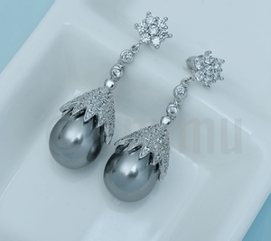Gray Pearl Dangle Earrings - Enumu