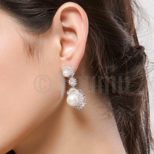Pearl and Swiss Zircon Dangle Earrings - Enumu