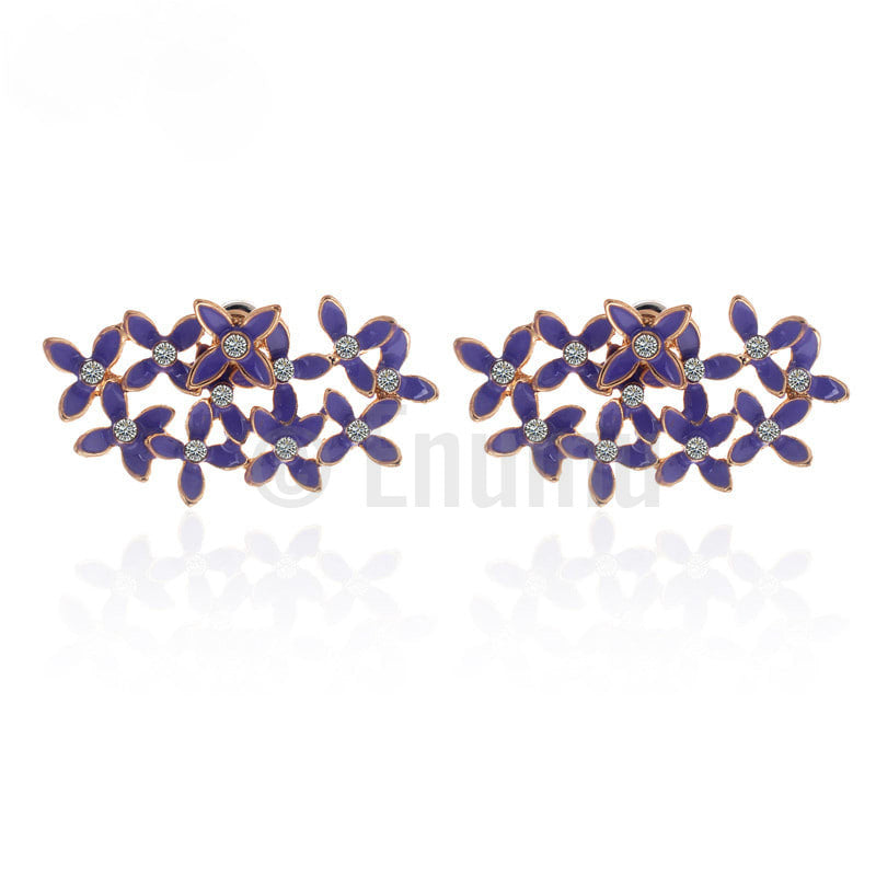 Purple Enamel Flower Stud Earrings - Enumu