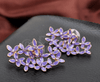 Purple Enamel Flower Stud Earrings - Enumu  - 4