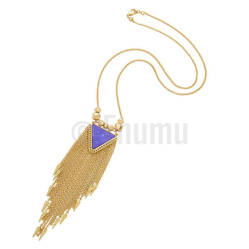 Two Strand Triangular Pendant Necklace - Enumu