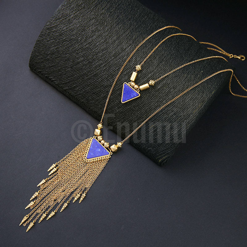 Two Strand Triangular Pendant Necklace - Enumu  - 1
