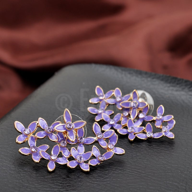 Purple Enamel Flower Stud Earrings - Enumu  - 1