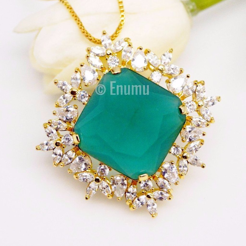 Big Emerald Pendant with Chain