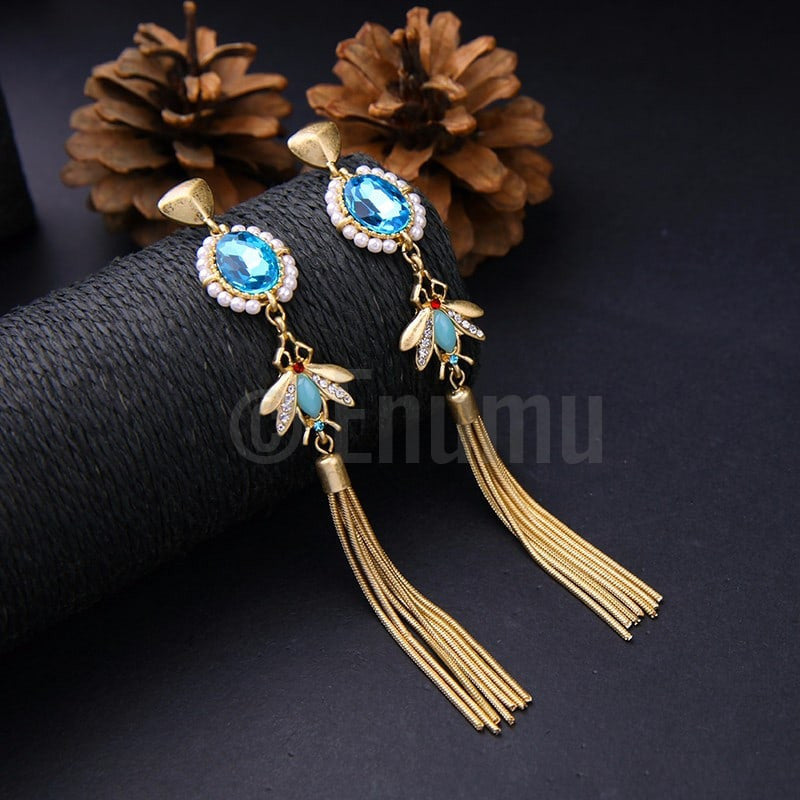 Super Long Light Blue Tassel Earrings - Enumu  - 1