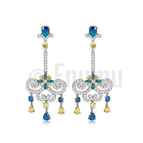Classy Blue Sapphire Long Dangle Earrings - Enumu