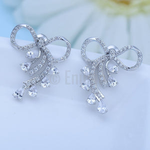 Simple Bow Studs with stones - Enumu