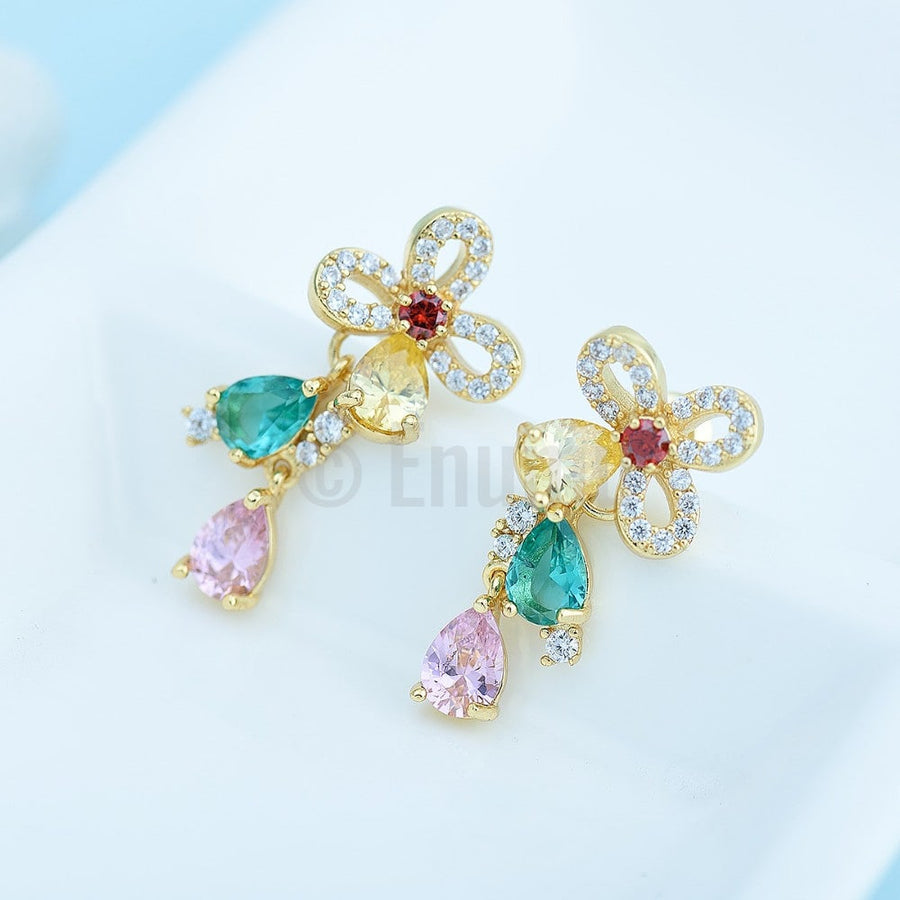Multi Color Small Dangle Earrings - Enumu
