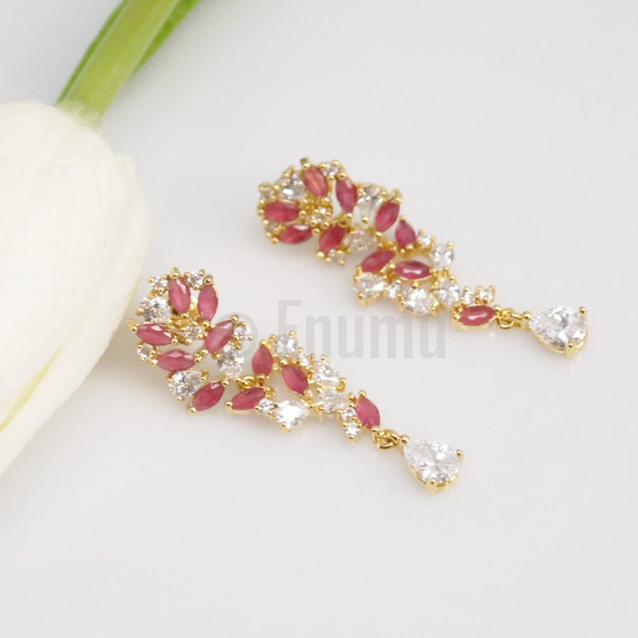 Simple Ruby Dangle Earrings - Enumu
