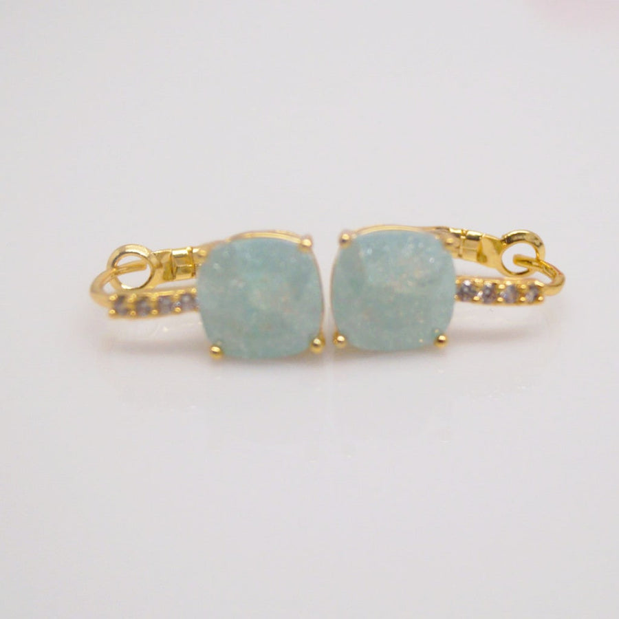 Light Green Ice Stone Hoops - Enumu