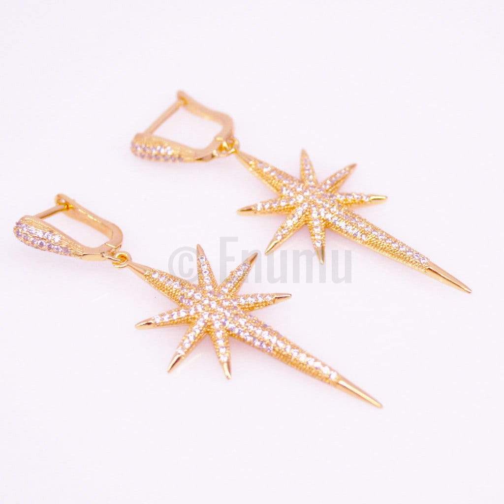 Star Sparkle YGP Diamond Imitation Dangle Earrings - Enumu  - 1