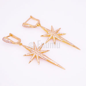 Star Sparkle YGP Diamond Imitation Dangle Earrings - Enumu