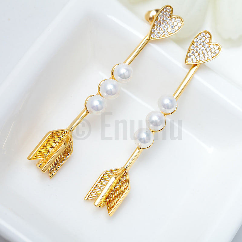 YGP Heart and Arrow Pearl Earrings - Enumu  - 1