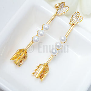 YGP Heart and Arrow Pearl Earrings - Enumu