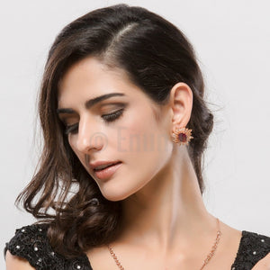 Super Big Light and Dark Brown Stud Earrings - Enumu