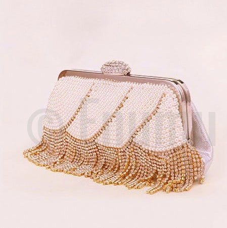 Pearl and Gold Tassel Party Evening Clutch - Enumu