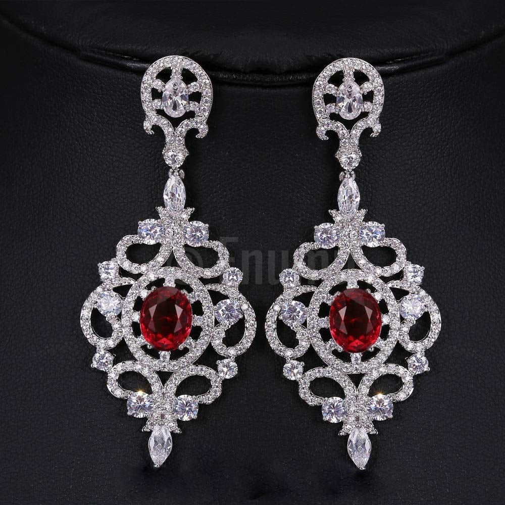 Diamond Ruby Red Dangle Earrings - Enumu