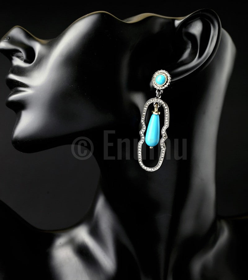 Blue Dangle Ethnic Earrings - Enumu