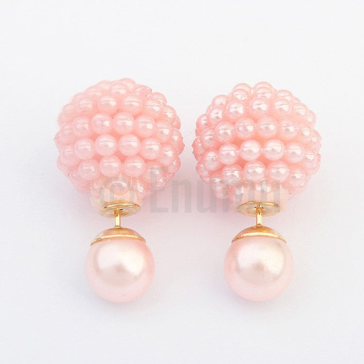 Light Pink Pearl Double Side studs - Enumu  - 1
