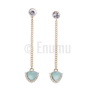 Light Blue Long Dangle Earrings - Enumu