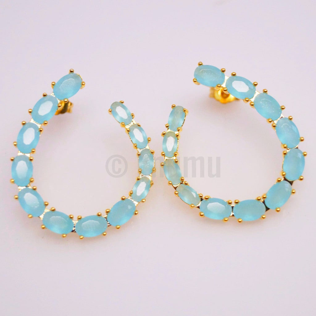 Uncut Light Blue Stone Big Studs - Enumu  - 3