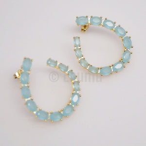 Uncut Light Blue Aquamarine Stone Big Studs - Enumu