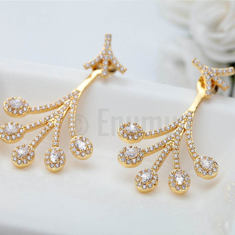 Yellow Gold Plated Earrings - Enumu  - 1