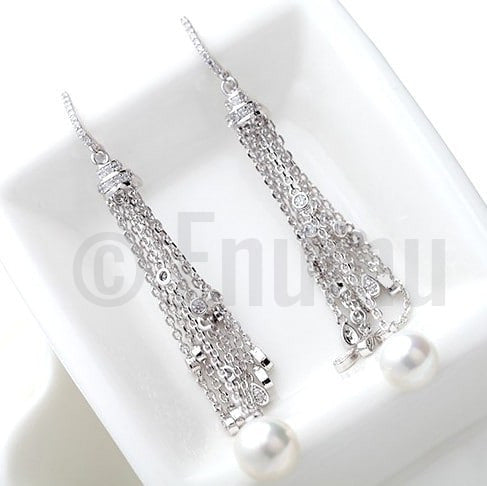 Tassel Pearl Dangle Earrings - Enumu
