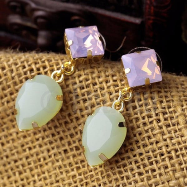 White and Light Green Drop Earrings - Enumu  - 1
