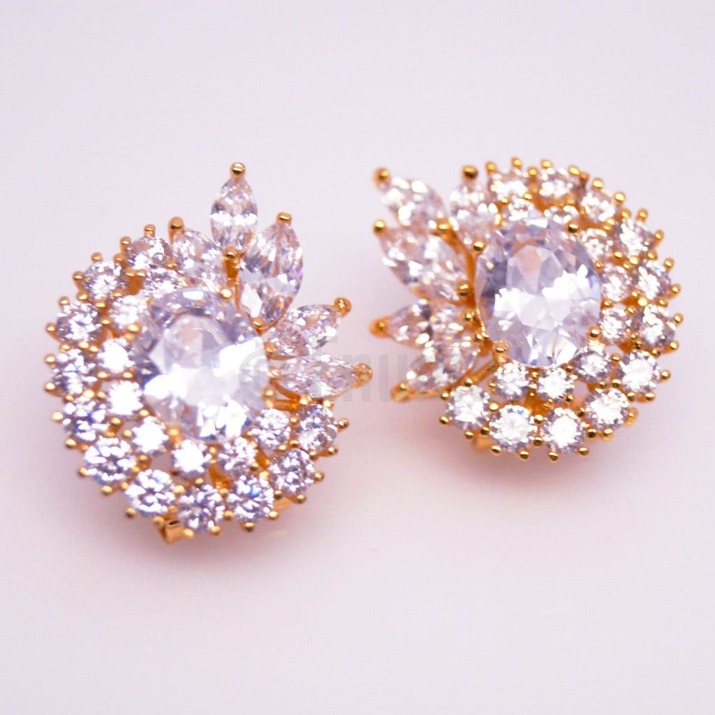 Designer CZ Stud Earrings - Enumu