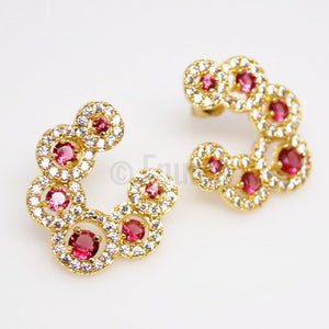 Big Swiss Zircon and Ruby Studs - Enumu