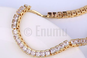 Yellow Gold Plated Single Solitaire Bracelet - Enumu