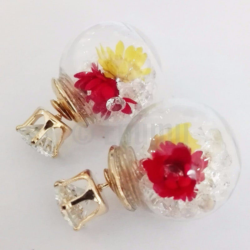 Flower and Stones Double Side Studs - Enumu