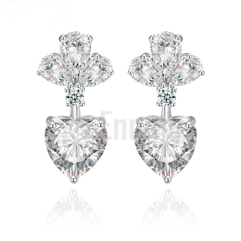 Simple Heart Diamond Imitation Earrings - Enumu