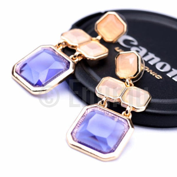 Beige and Blue Dangle Earrings - Enumu