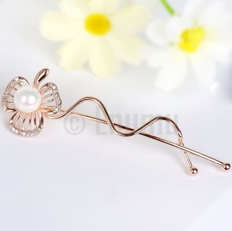 Yellow Gold plated Flower Clip - Enumu  - 1